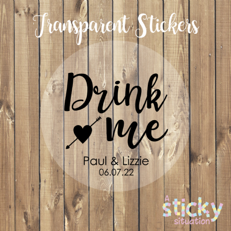 Personalised Transparent 'Drink Me' Stickers - Heart Design